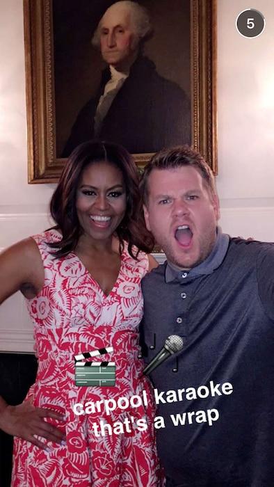 Michelle Obama, James Corden, Snapchat