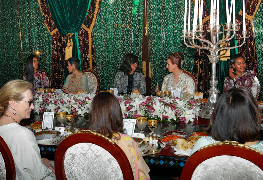 Michelle Obama, Malia Obama, Sasha Obama, Princesses Lalla Salma, Meryl Streep