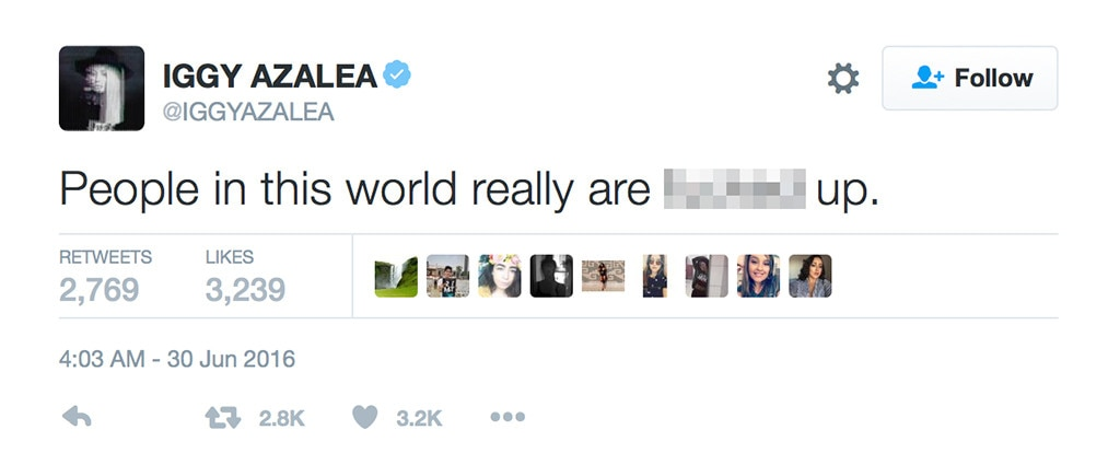 Iggy Azalea, Nick Young, Tweets
