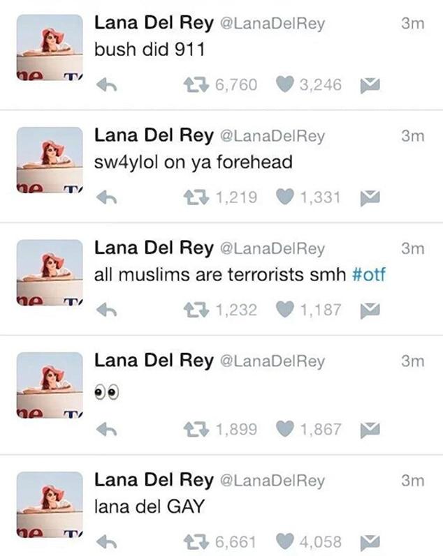 Lana Del Rey, Hacked Tweets