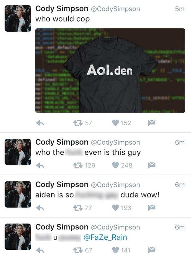 Cody Simpson, Hacked Tweets