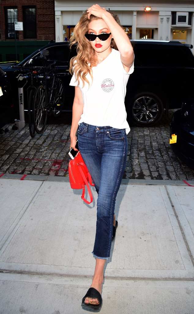 Gigi Hadid From Slides Shower Shoes Made Cool Again E News