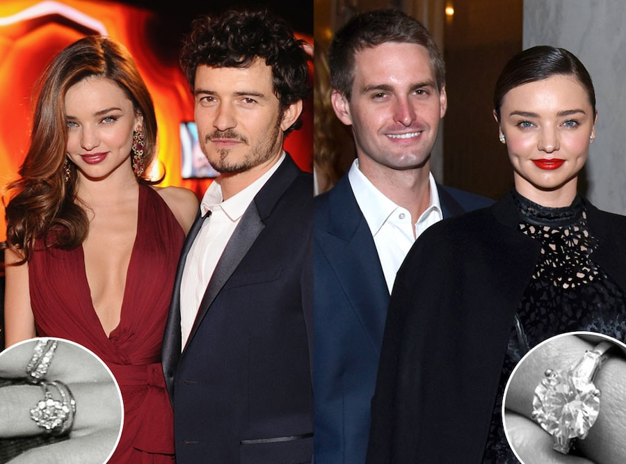Miranda Kerr, Orlando Bloom, Evan Spiegel, Engagement Rings