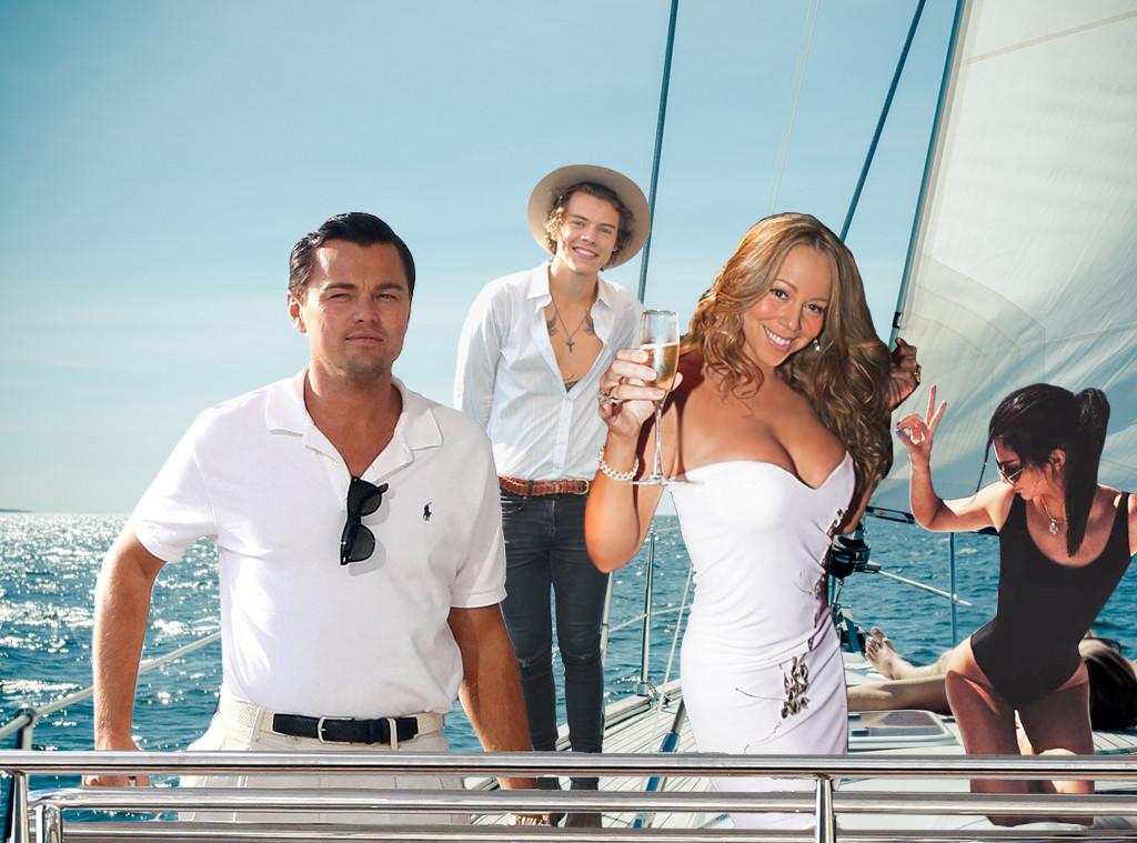 Celebs on a yacht, Leonardo Dicaprio, Mariah Carey, Harry Styles, Kendall Jenner