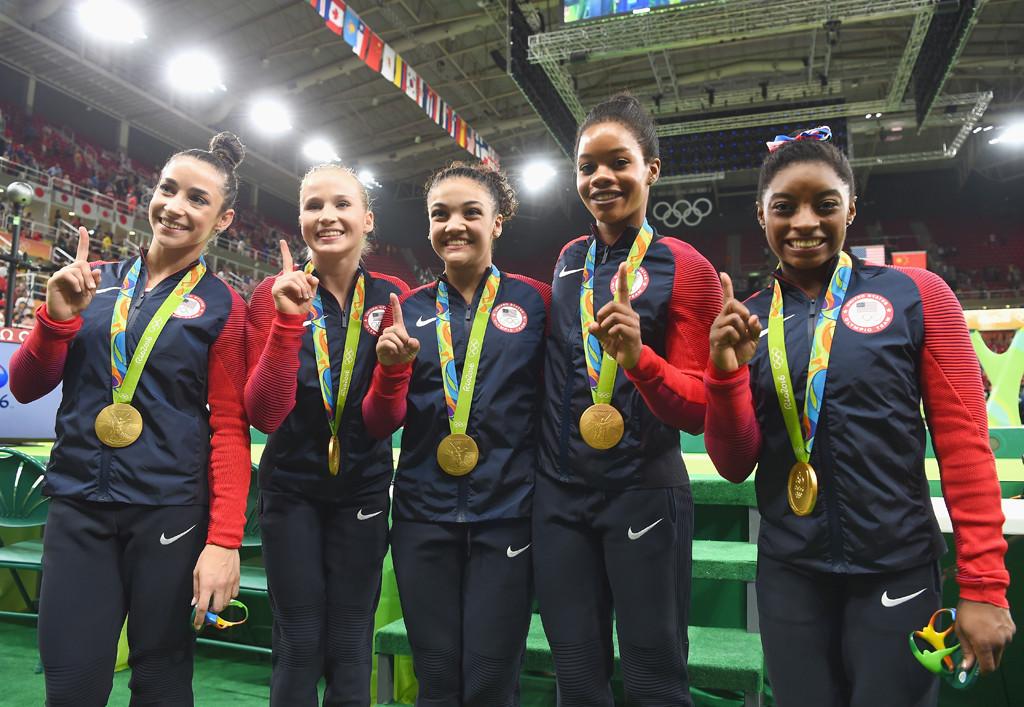 Alexandra Raisman, Madison Kocian, Lauren Hernandez, Gabrielle Douglas, Simone Biles, 2016 Rio Summer Olympics