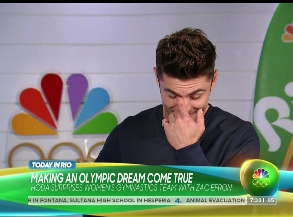 Zac Efron, Today, Olympics, Simone Biles, Watery Eyes