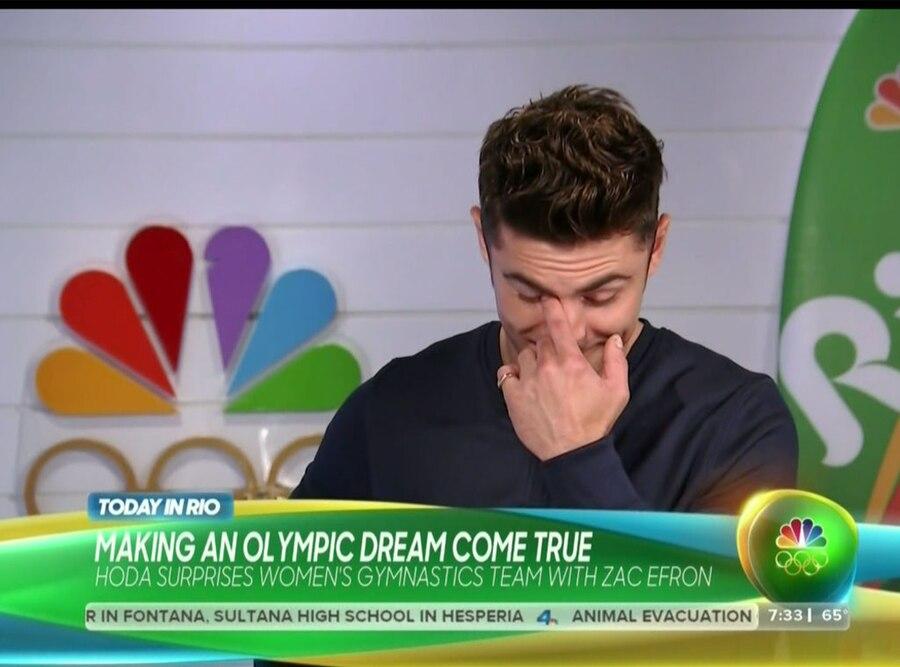 Zac Efron, Today, Olympics, Simone Biles, Watery Eyes