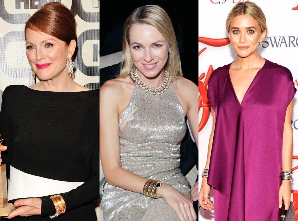 Celebrity Jewelry, Buglari Serpenti Watch, Julianne Moore, Naomi Watts, Ashley Olsen