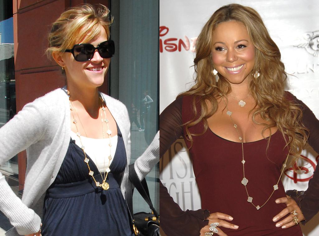 Celebrity Jewelry, Van Cleef & Arpels Alhambra Necklace, Reese Witherspoon, Mariah Carey