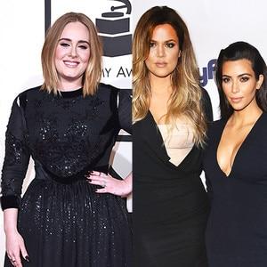Adele, Khloe Kardashian, Kim Kardashian