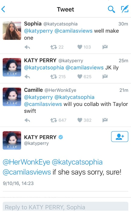 Katy Perry, Taylor Swift, Tweet, Sept 10 2016