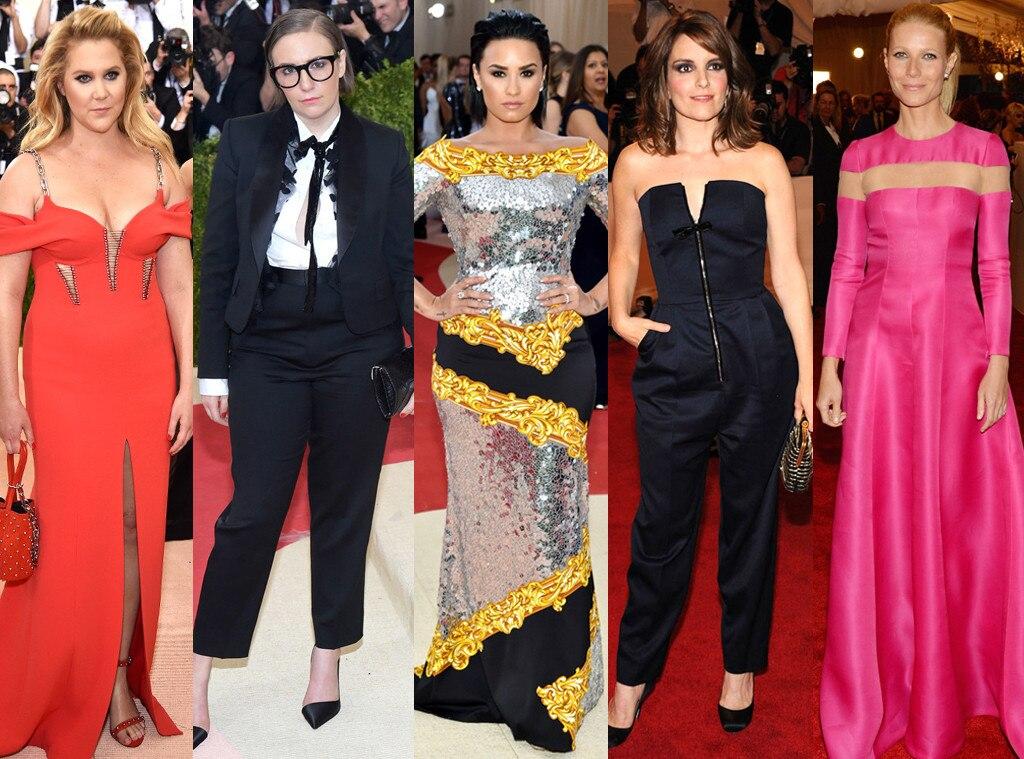 Met Gala, Tina Fey, Amy Schumer, Lena Dunham, Gwyneth Paltrow, Demi Lovato