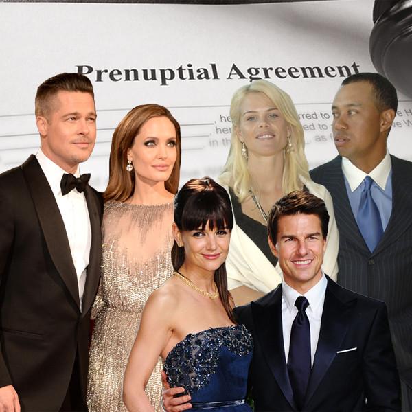Prenups, Brad Pitt, Angelina Jolie, Katie Holmes, Tom Cruise, Tiger Woods, Elin