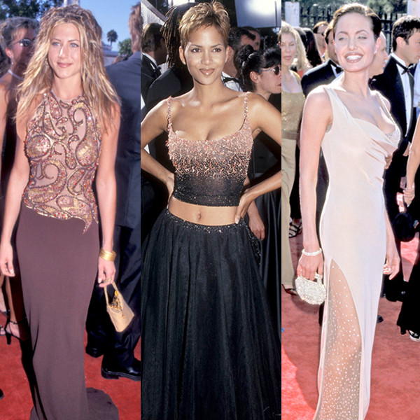 Emmys 1990's Fashion, Jennifer Aniston, Halle Berry, Angelina Jolie
