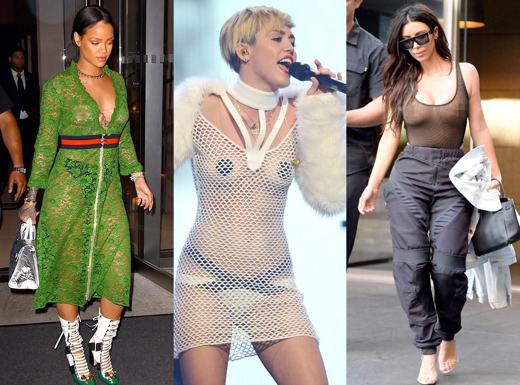 Braless, Rihanna, Miley Cyrus, Kim Kardashian