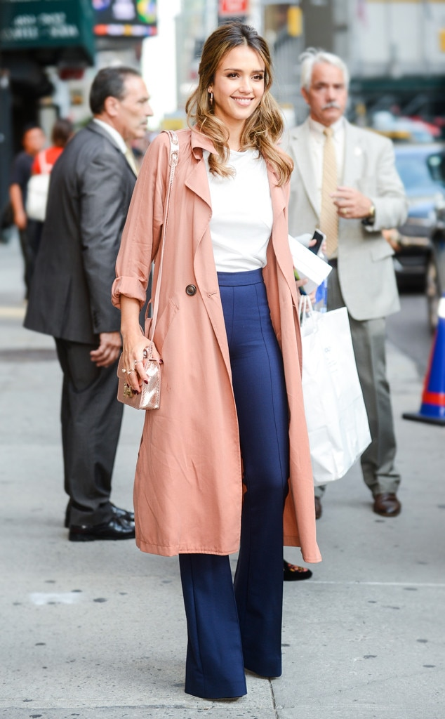 Jessica alba from best celeb street style from nyfw spring Fashion celebrity street style