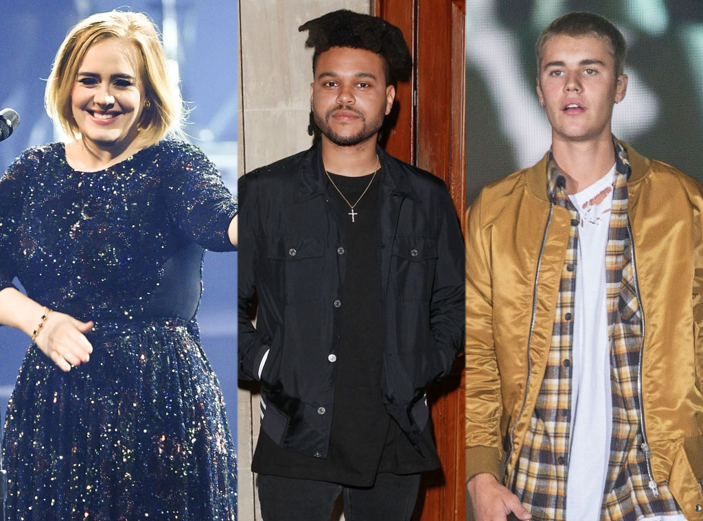 Adele, The Weeknd, Justin Bieber