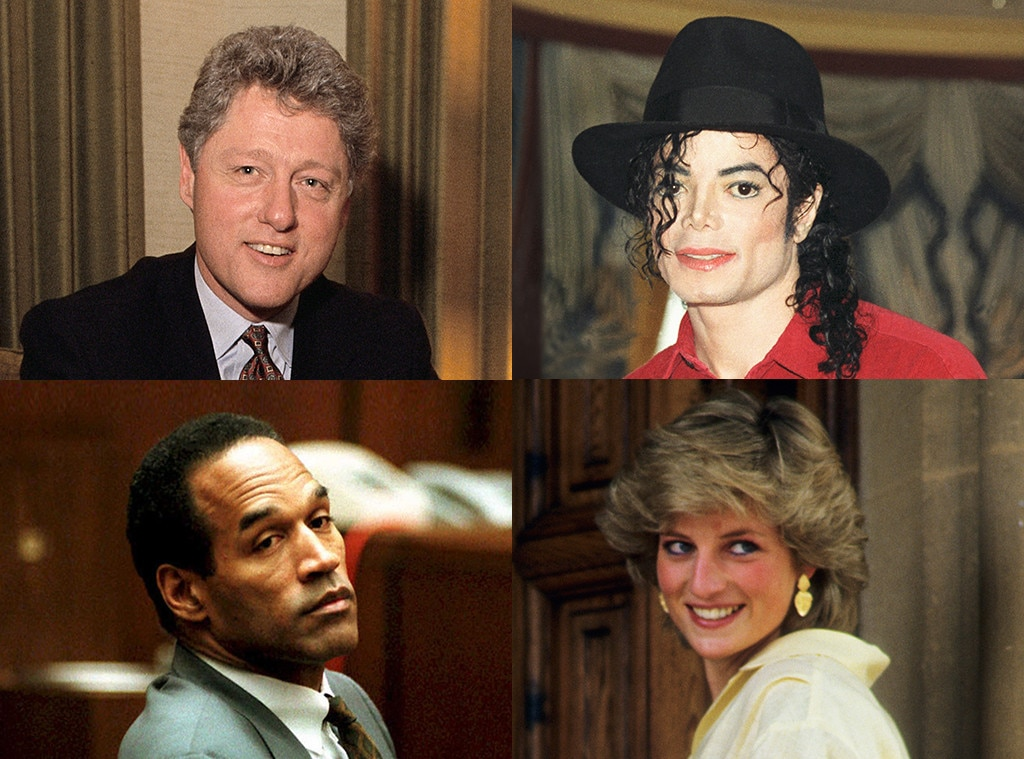 Bill Clinton, Michael Jackson, Princess Diana, OJ Simpson