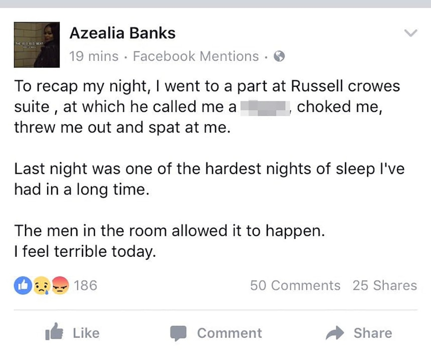 Azealia Banks, Facebook Post