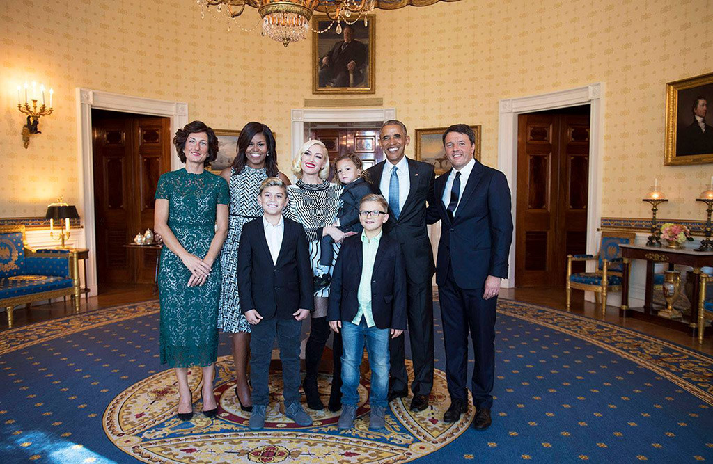 Celebs With Obama, Gwen Stefani, Kingston Rossdale, Zuma Rossdale, Apollo Rossdale, Barack Obama, Michelle Obama