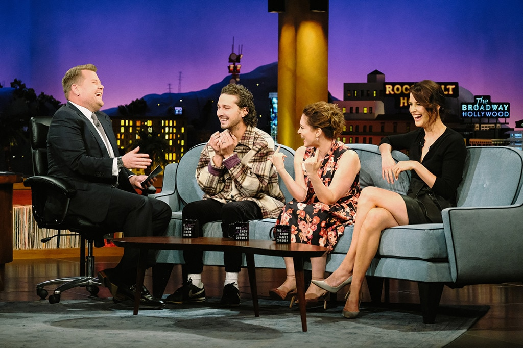 Shia LaBeouf, James Corden, Rachel Bloom, Cobie Smulders, The Late Late Show
