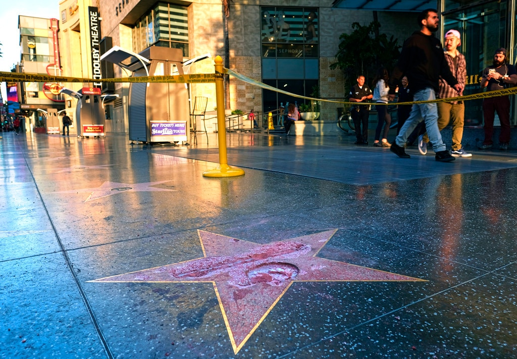 Donald Trump, Defaced Hollywood Walk of Fame