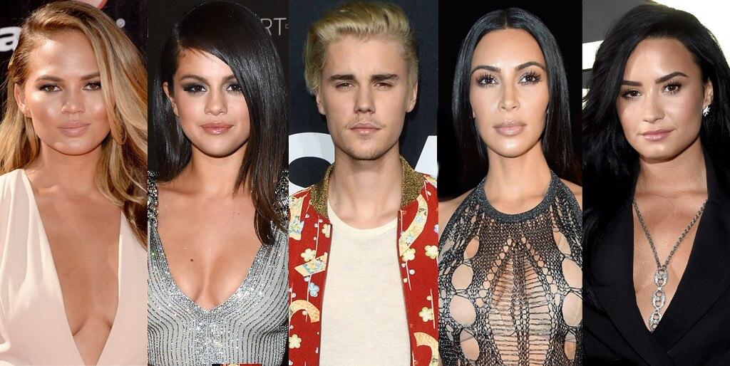 Chrissy Teigen, Demi Lovato, Selena Gomez, Justin Bieber, Kim Kardashian