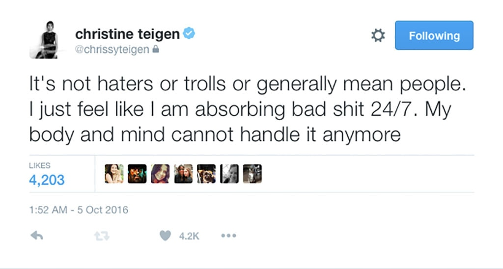 Chrissy Teigen, Twitter
