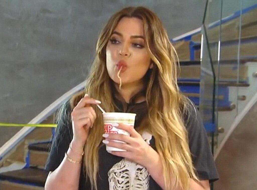 khloe kardashian from celebrities eating noodles  e news