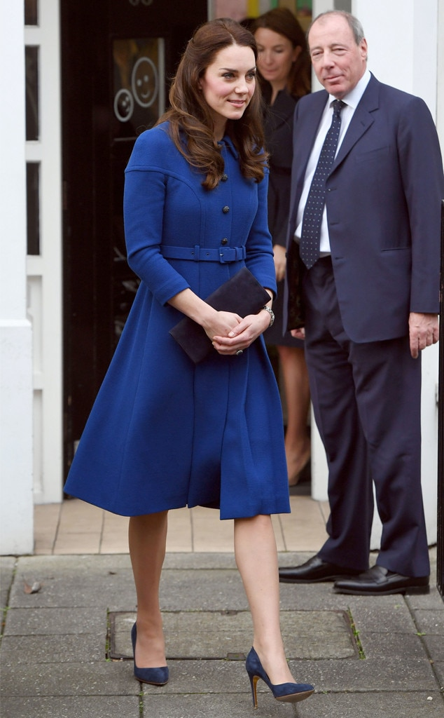 Kate Middleton Buttons Up in Blue for First Public Event ...