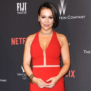 Alyssa Milano, Weinstein Company Golden Globes After party