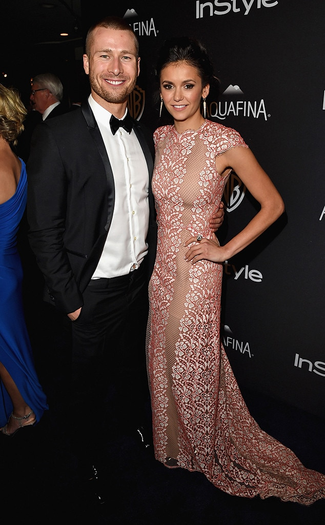 Actress Nina Dobrev with Glenn Powell