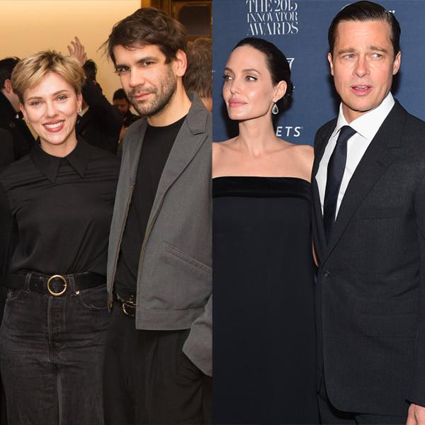 Celebrity Couples, Scarlett Johansson, Romain Dauriac, Brad Pitt, Lady Gaga, Taylor Kinney, Miranda Sings