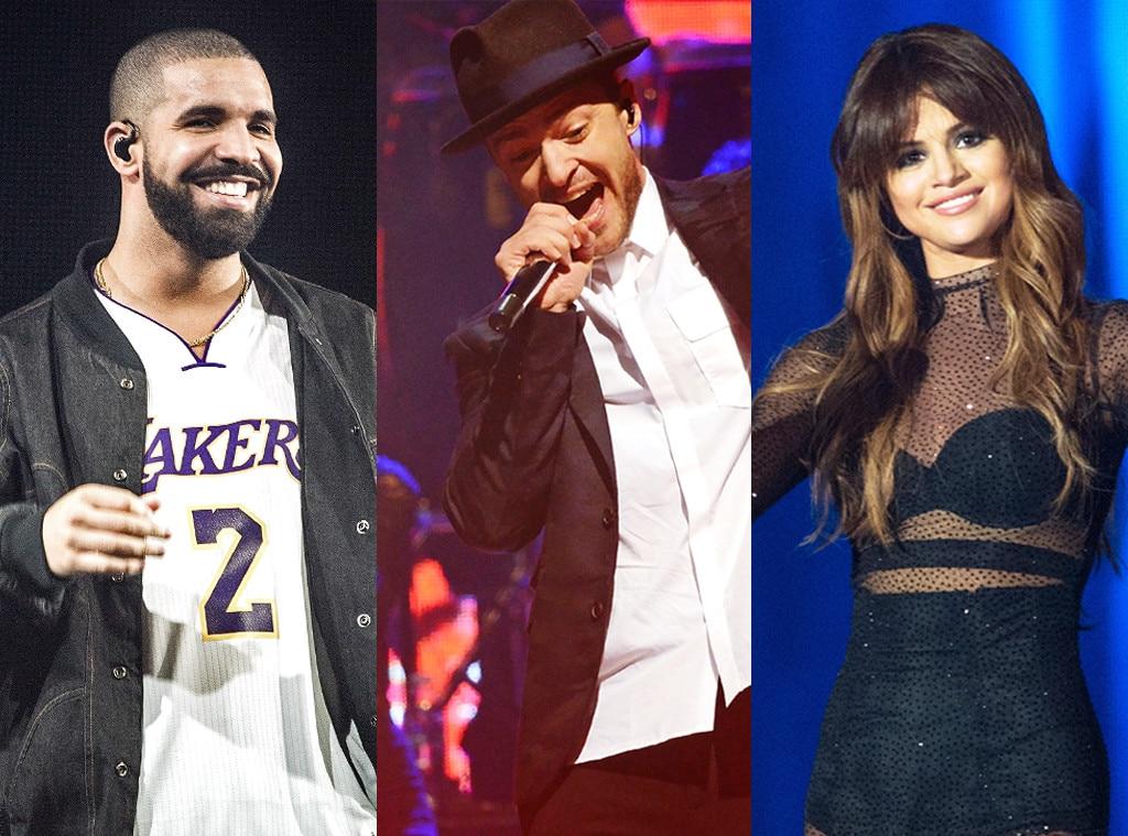 Drake, Selena Gomez, Justin Timberlake