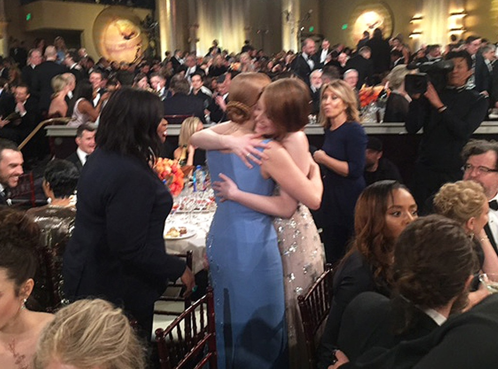 Octavia Spencer, Emma Stone, Jessica Chastain, 2017 Golden Globes