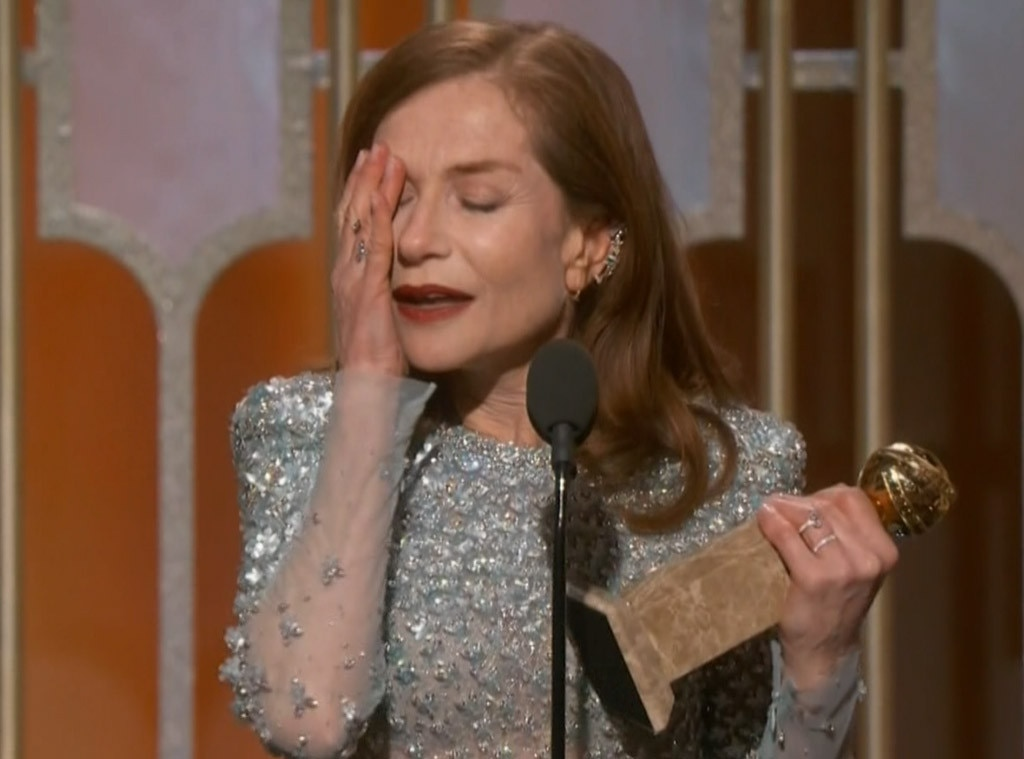 Isabelle Huppert Emotionally Accepts Award For Best Actress In A Motion Picture, Drama At The 2017 Golden Globes
