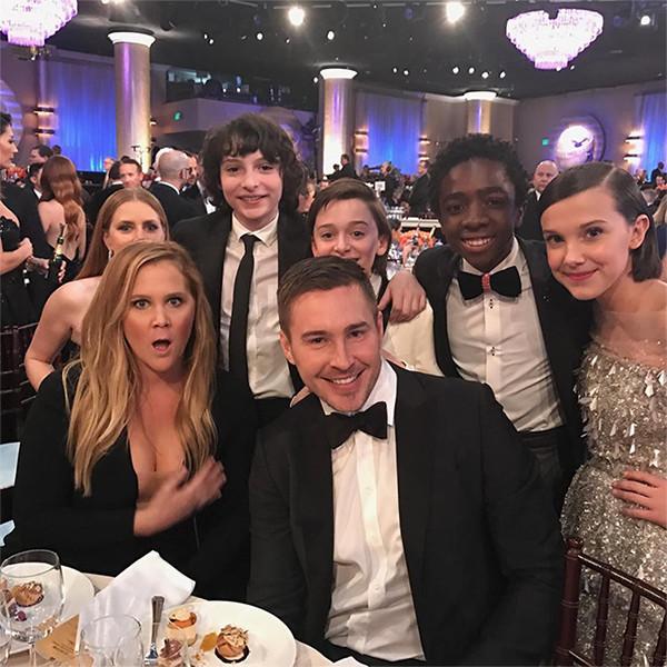 Amy Adams, Amy Schumer, Ben Hanisch, Millie Bobby Brown, Caleb McLaughlin, Finn Wolfhard, Noah Schnapp, Stranger Things Kids
