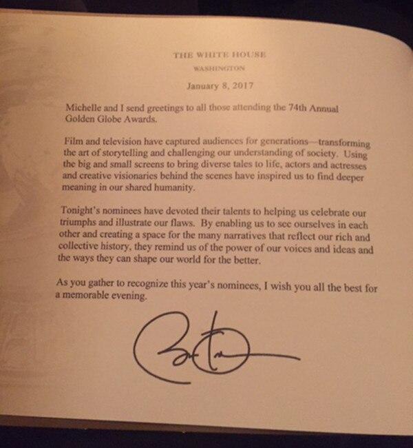 Golden Globes 2017, Obama Letter