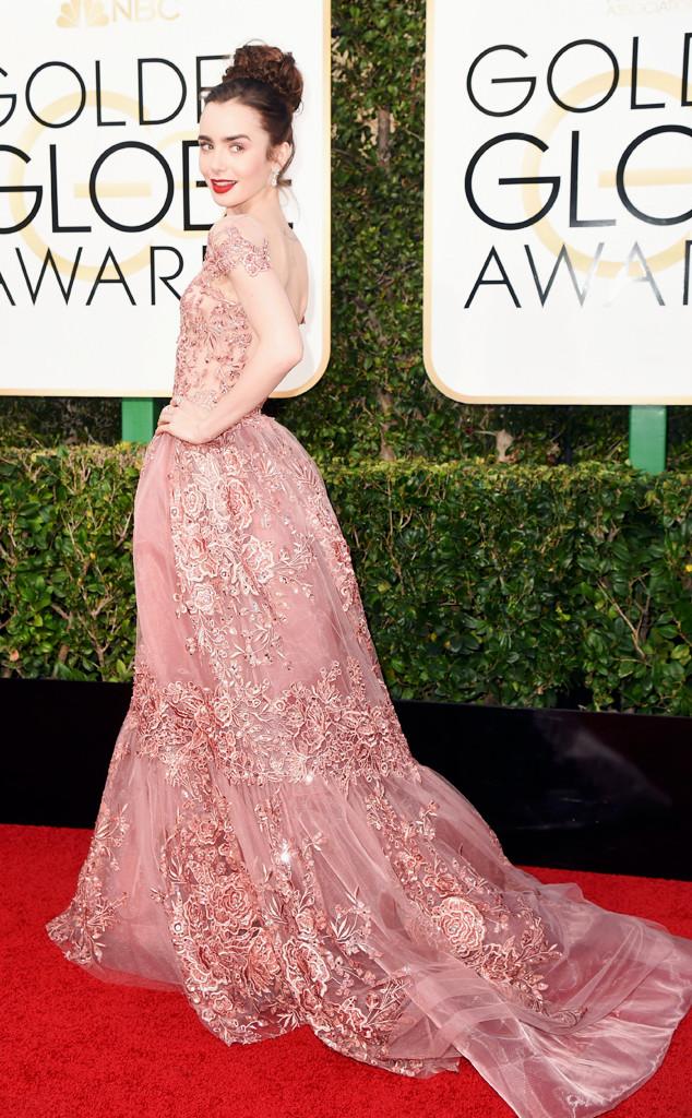 ESC: Lily Collins, 2017 Golden Globes, Candids