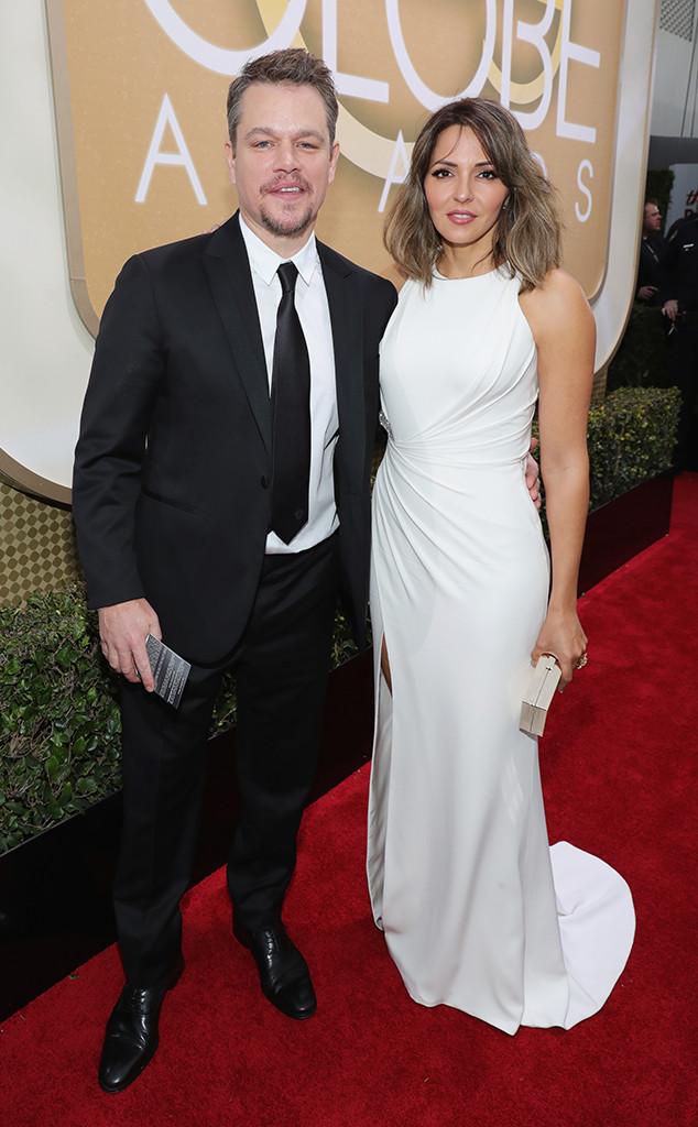 Matt Damon, Luciana Barroso, 2017 Golden Globes, Couples