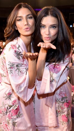 Lily Aldridge, Adriana Lima, 2017 Victoria's Secret Fashion Show, Backstage
