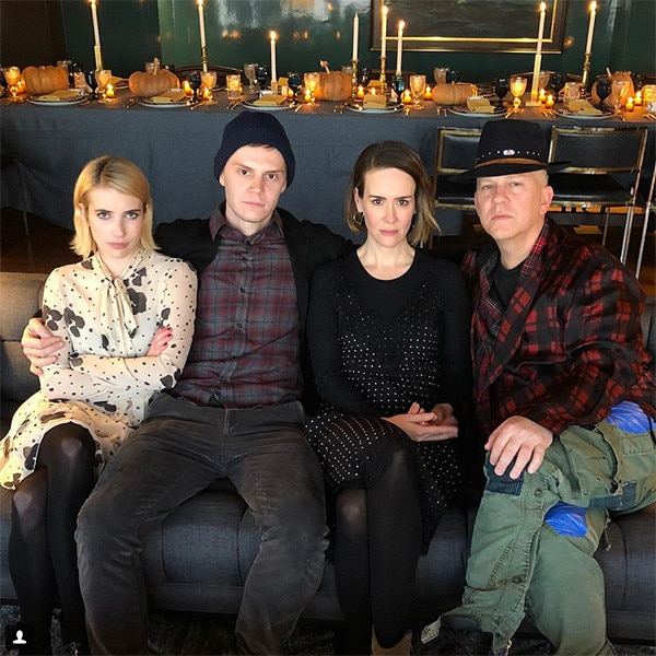 Emma Roberts, Evan Peters, Ryan Murphy, Sarah Paulson, Thanksgiving 2017