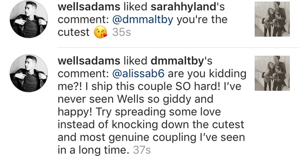 Sarah Hyland, Wells Adams, Instagram