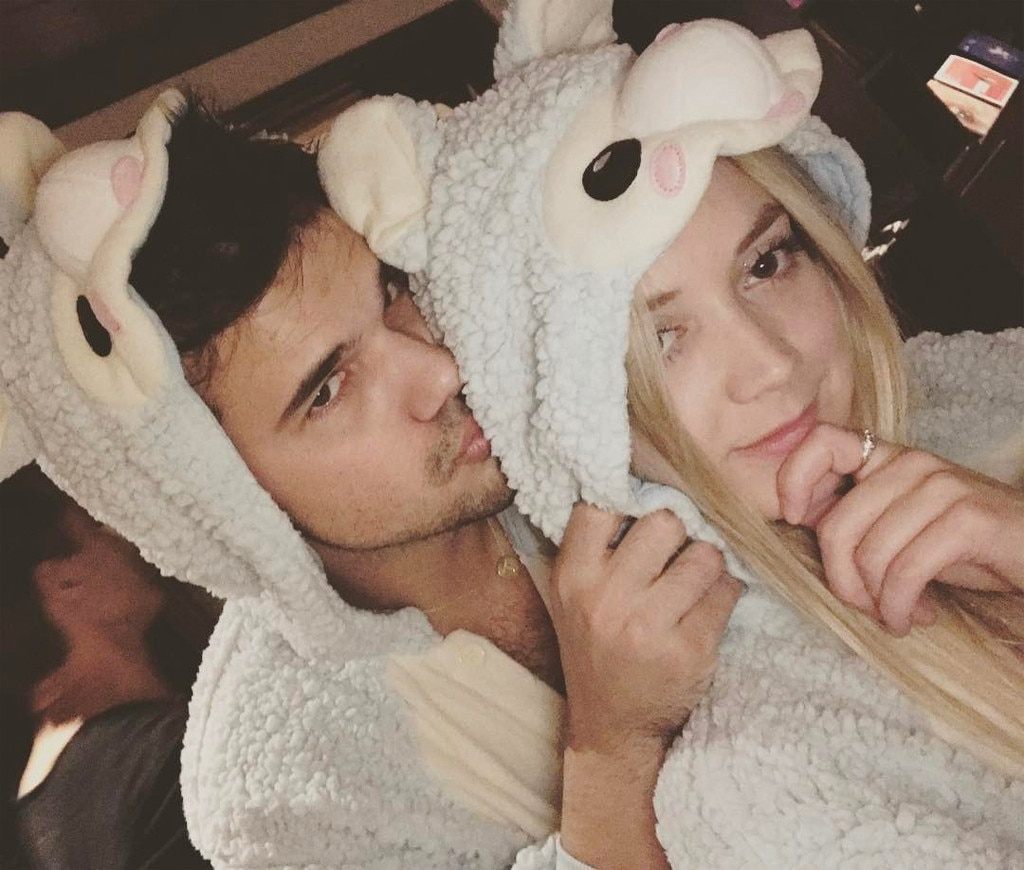 Billie Lourd And Taylor Lautner Celebrate His 25th Birthday In Matching Onesies