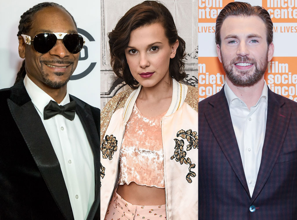 Snoop Dogg, Millie Bobby Brown, Chris Evans