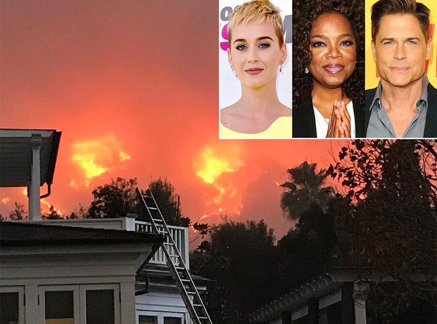Santa Barbara wildfires, Rob Lowe, Katy Perry, Oprah Winfrey