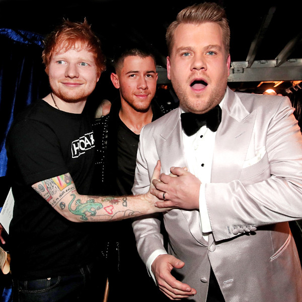Ed Sheeran, James Corden, Nick Jonas, 2017 Grammys, Candids