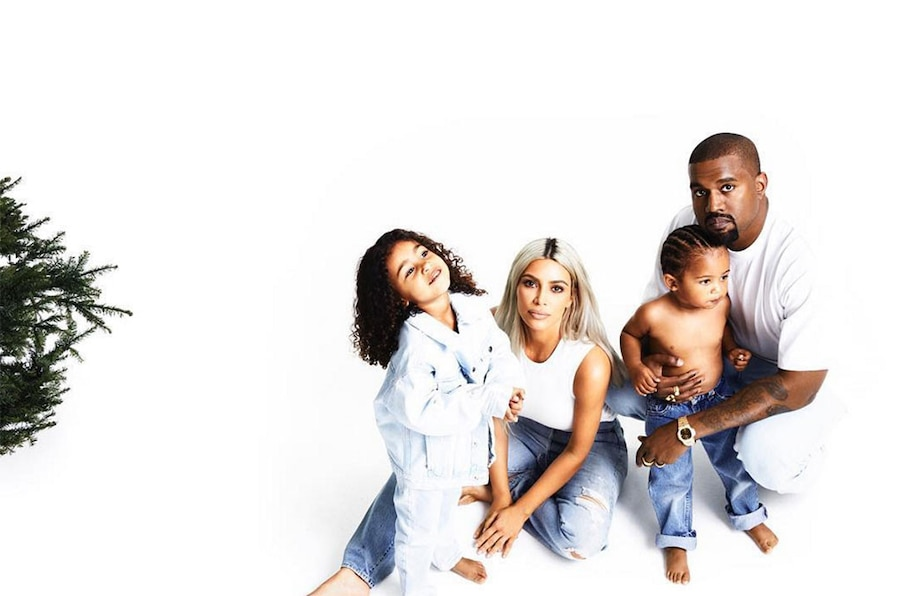 Kardashian Christmas Card Day 21, Kim Kardashian, Kanye West, North West, Saint West