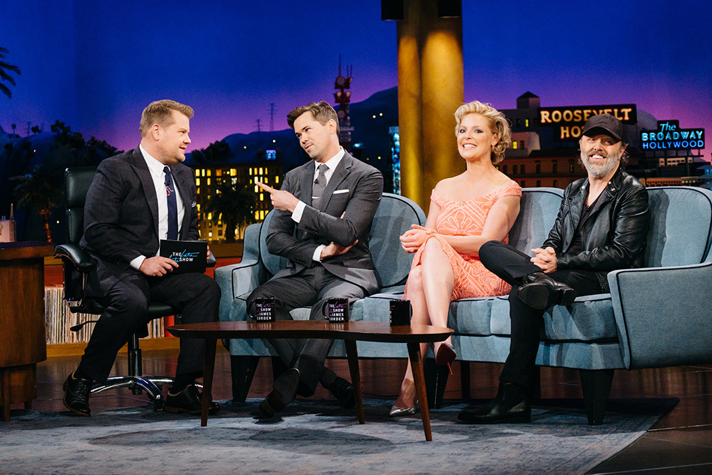 James Corden, Katherine Heigl, Andrew Rannells, Lars Ulrich, The Late Late Show