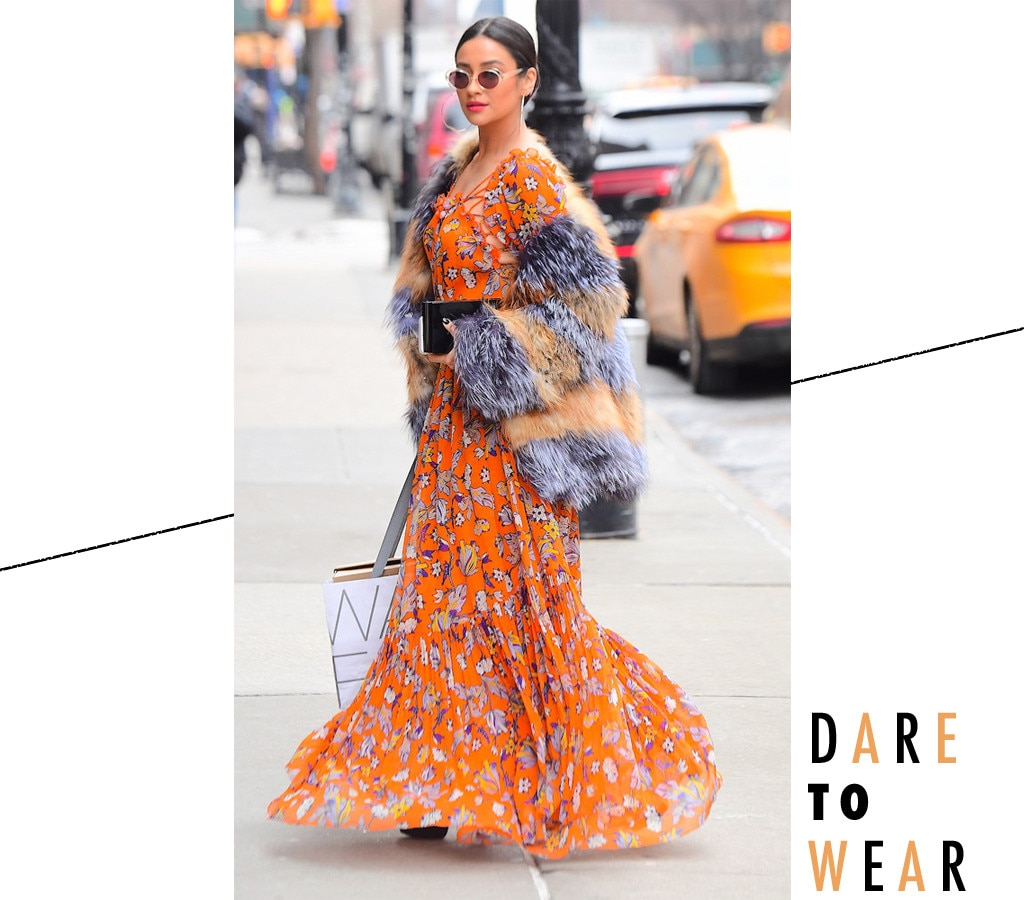How Shay Mitchell Makes A Floral Maxi Work For Winter E News